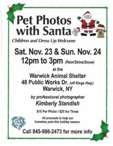 PET PHOTOS WITH SANTA @ Warwick Valley Humane Society