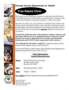 ORANGE COUNTY DEPT of HEALTH TO HOST FREE RABIES CLINIC NOVEMBER 7th AT WARWICK HUMANE SOCIETY @ Warwick Valley Humane Society